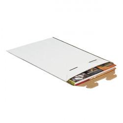 Pochette d'expédition carton ondulé blanc fermeture par patte de vérouillage