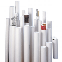 Tube d'expédition blanc à bouchons plastiques