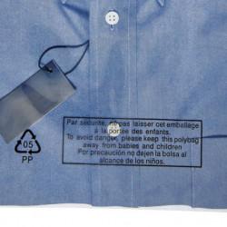 Sachet plastique à fermeture adhésive repositionnable avec message de Sécurité 40 microns