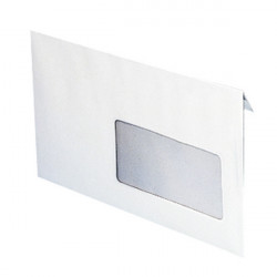 Enveloppe blanche standard à fenetre 110 x 220 mm (fenetre 35x100mm)