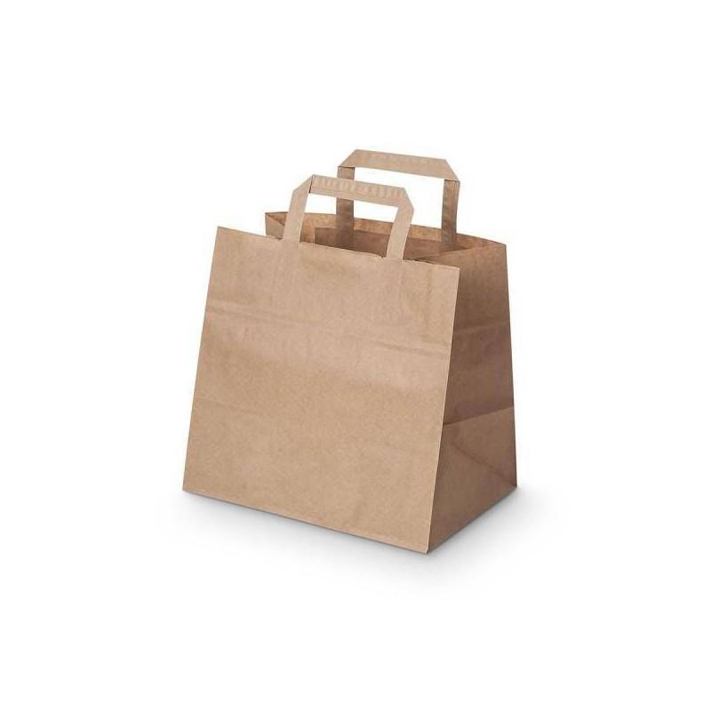 Sac kraft poignées plates, Sac courses - Pakup-Emballage.fr