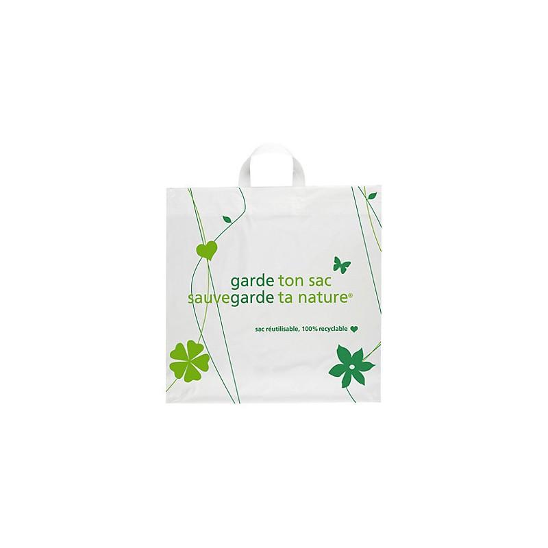 Sac Recyclé Poignées Souple, Sac courses - Pakup-Emballage.fr